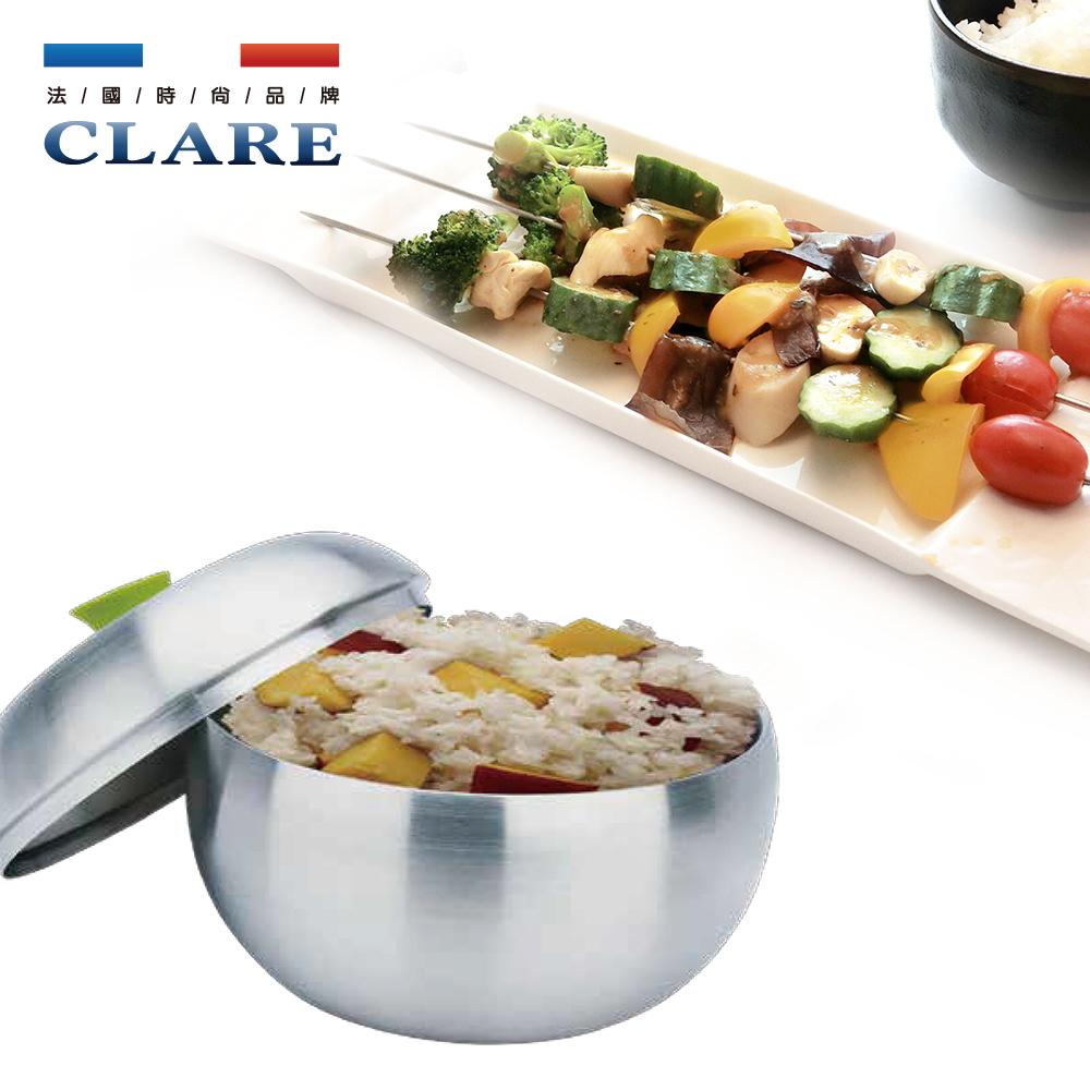 【CLARE 可蕾爾】晶鑽316蘋果型雙層碗16cm #28
