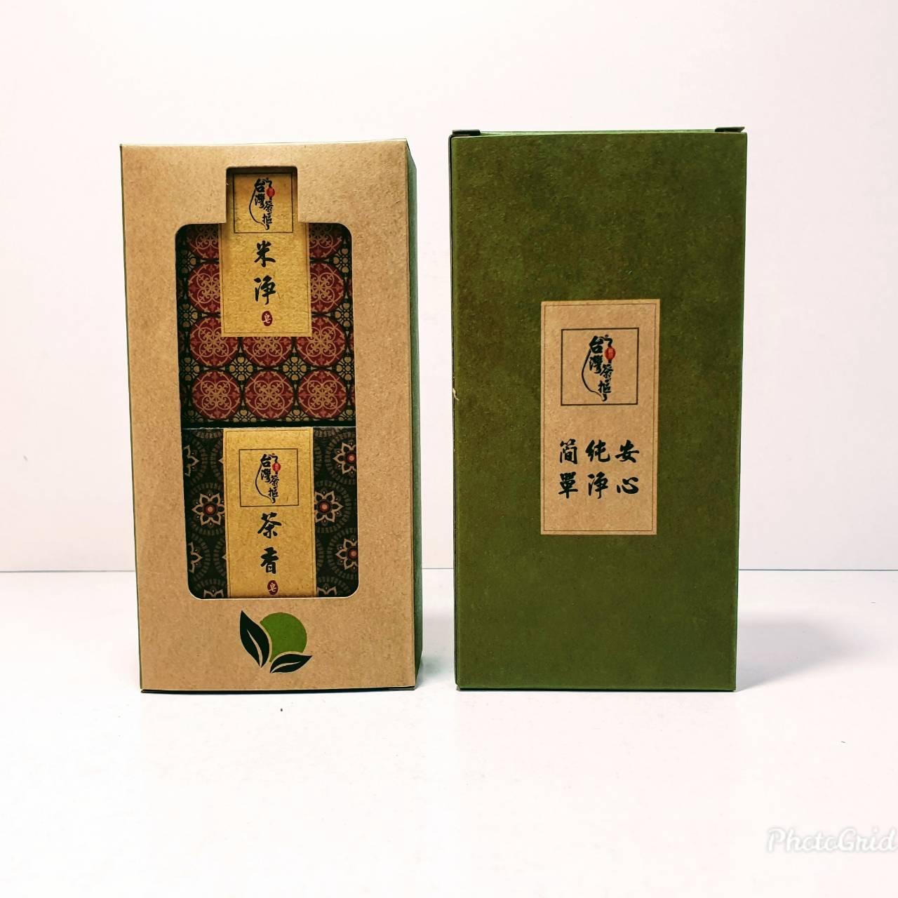 TSN一002F台灣茶摳手工皂禮盒米淨.茶香洗臉皂80g